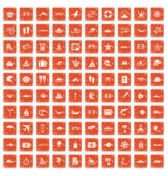 100 sea life icons set grunge orange vector