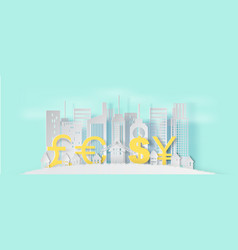 3d paper art and craft style of cityscape and vector image