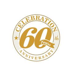 60 th golden anniversary vector