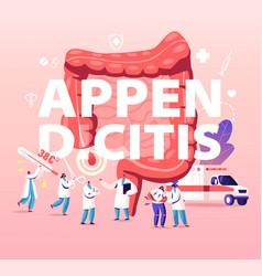 Appendix pain and appendicitis disease concept vector