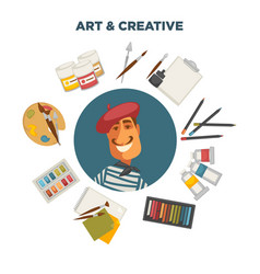 artistic materials and french painter vector image