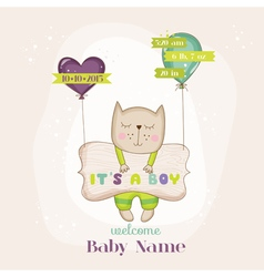 Baby cat with balloons - shower card vector