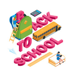back to school isometric concept 07 vector image