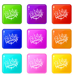 Bang speech bubble explosion icons 9 set vector