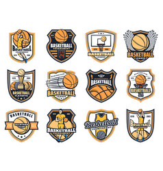 Basketball balls sport game players trophy cups vector