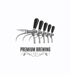 beer tap vintage logo brewing on white vector image
