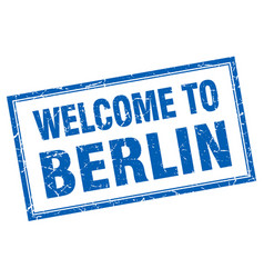 Berlin blue square grunge welcome isolated stamp vector