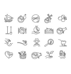 black and white icons assorted organic products vector image