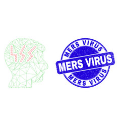Blue distress mers virus stamp seal and web vector