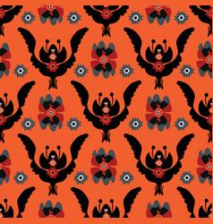 boho black red floral pattern vector image