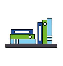 bookshelf books and binders office vector image