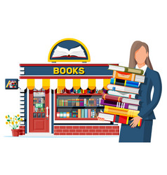 Bookstore shop exterior and woman vector