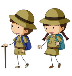 Boyscout and girlscout in brown uniform vector