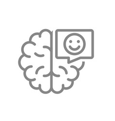 Brain with happy face in speech bubble line icon vector
