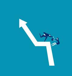 business team climb positive graph concept vector image