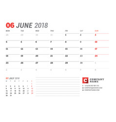 calendar template for june 2017 business planner vector image
