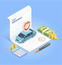 car insurance services insurance contract vector image