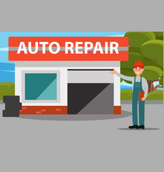 car repair auto service center mechanics in vector image