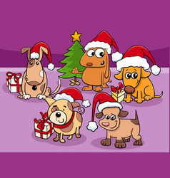 Cartoon dogs characters group on christmas time vector