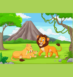 cartoon lion family in jungle vector image