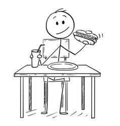 Cartoon of man eating hotdog and drinking cola or vector