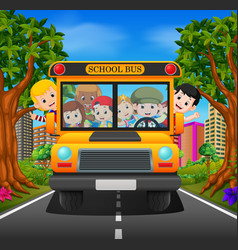 Children of a school bus vector
