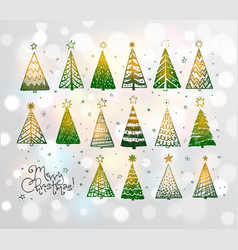 christmas doodles with set green glowing vector image