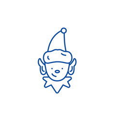 christmas elf line icon concept christmas elf vector image