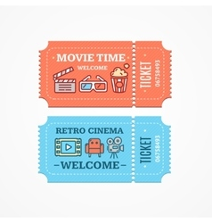 Cinema Tickets Flat Icon Set vector
