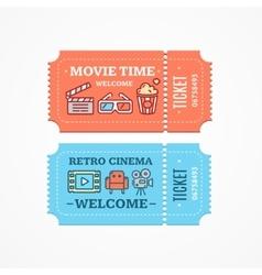 Cinema tickets flat icon set vector