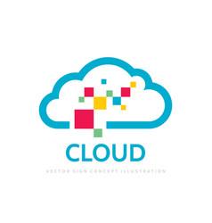 cloud service - logo template concept vector image