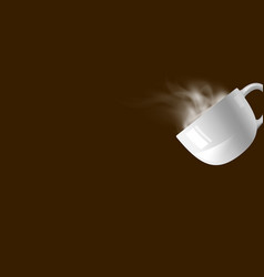 coffee cup with smoke on brown background vector image