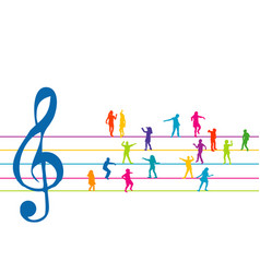 colorful stave with clef and kids dancing vector image