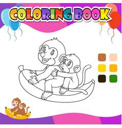 Coloring book monkey riding banana cartoon vector