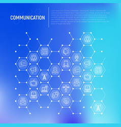 communication concept in honeycombs vector image