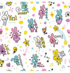 cute bunnies seamless pattern vector image