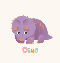 cute purple cartoon baby dino bright colorful vector image