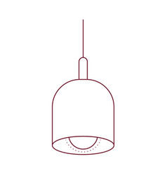Dark red line contour of pendant lamp vector