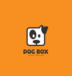 Dog box logo vector
