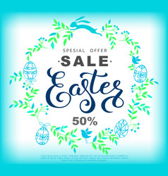 easter sale banner with wreath made blue vector image