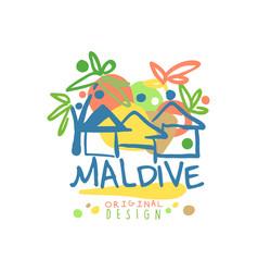 Exotic island summer vacation maldive travel logo vector