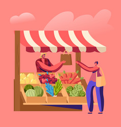 Farmer sell fresh fruit vegetable products to vector