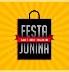 festa junina sale banner with shopping bag design vector image
