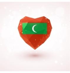 Flag of the Maldives in shape diamond glass heart vector