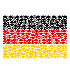 Germany flag pattern of alien face icons vector