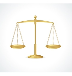 Gold justice scales isolated on white vector