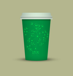 Green abstract plastic coffee cup vector