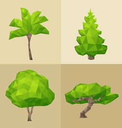 Green tree set formed by triangles polygon vector image