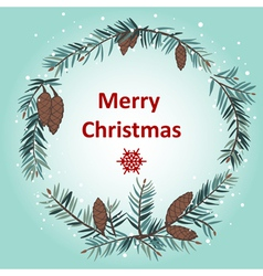 Greeting card with Christmas wreath vector