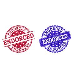 Grunge scratched endorced stamp seals vector